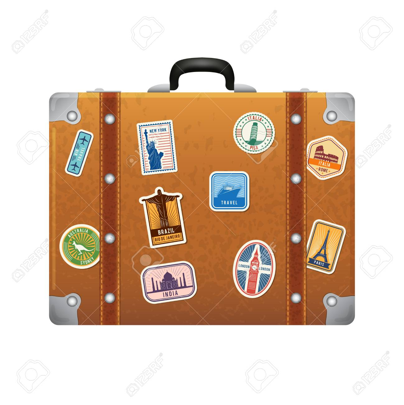travel stickers on retro leather suitcase vector labels set royalty