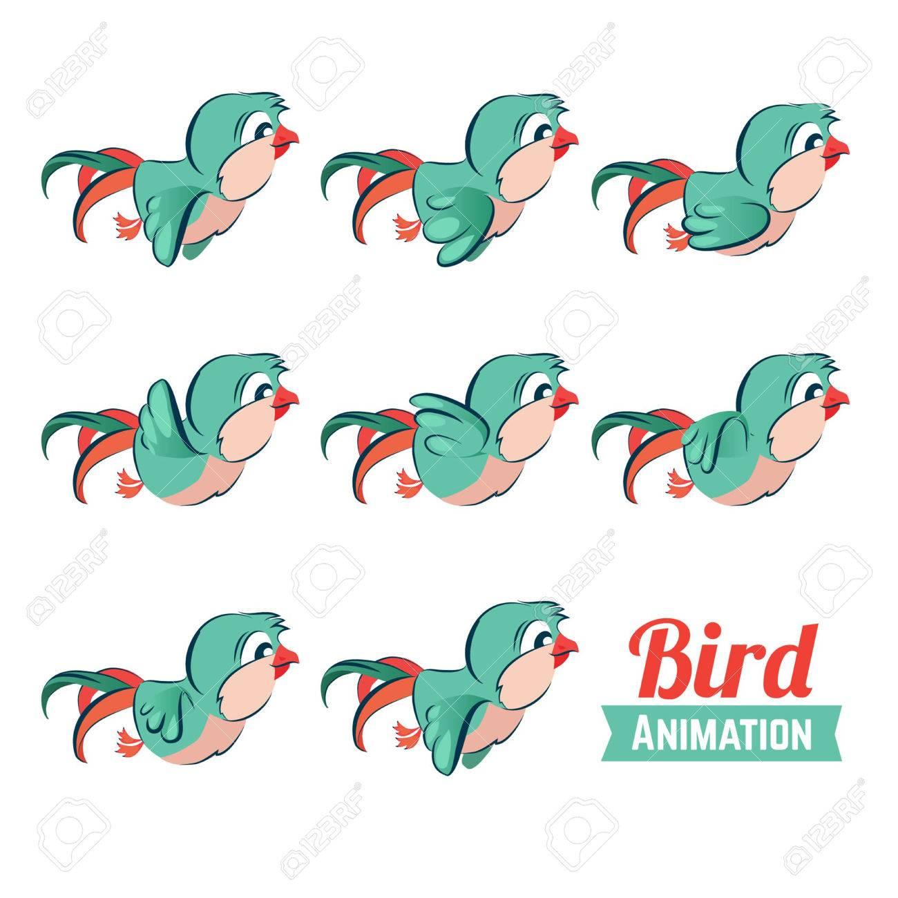 Animación De Fotogramas Clave De Vuelo De Aves. Ilustración De ...