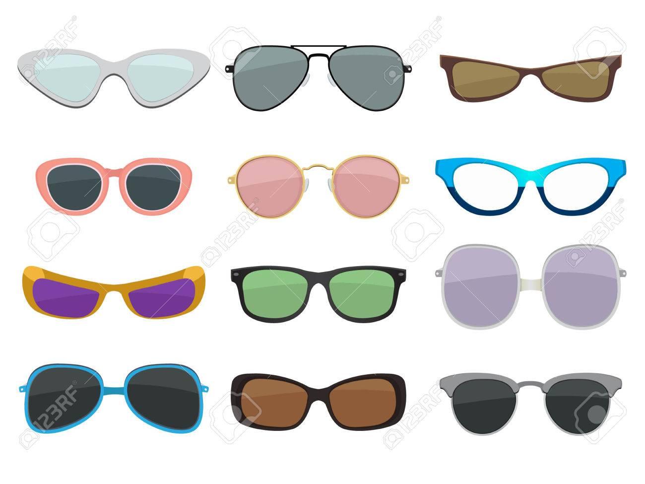 3dee2a6500 Conjunto de ilustración de moda. Diferentes tamaños y tipos de gafas de  sol. Vector