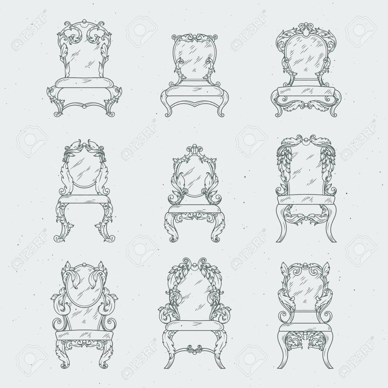 Antique italian chairs and armchair. Vector furniture isolated in white  Stock Vector - 84357742 - Antique Italian Chairs And Armchair. Vector Furniture Isolated