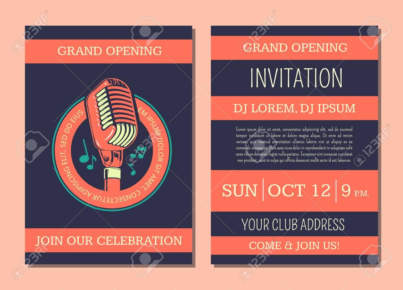Plantilla De Tarjeta De Invitación De Vector Para Club De Música De Karaoke