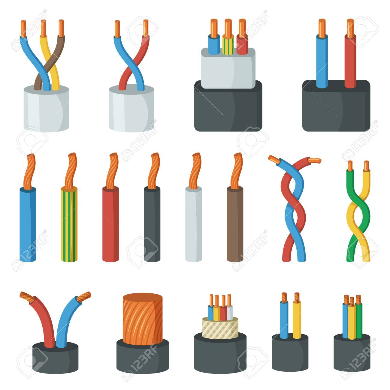 Electrical Cable Wires, Different Amperage And Colors. Vector ...