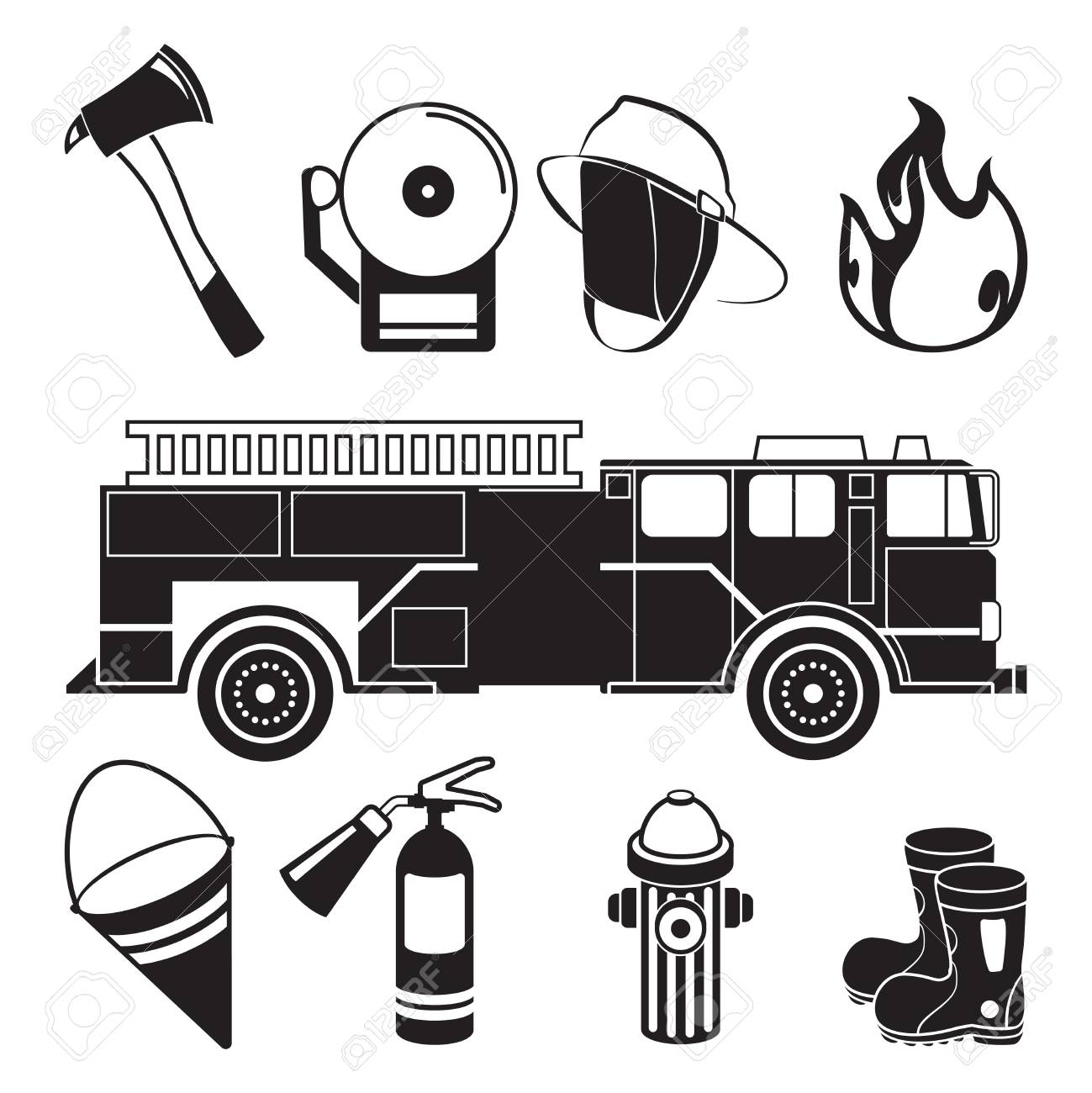 Clip Art Fire Station Drawing