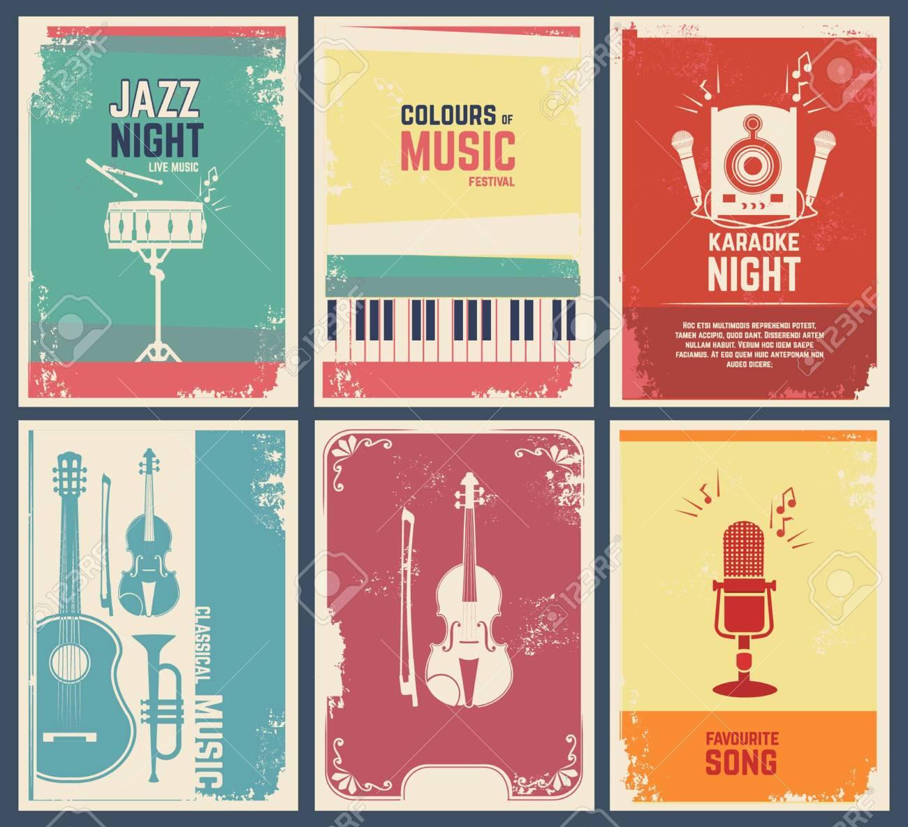 Plantilla De Diseño De Tarjetas De Invitación Con Imágenes De Instrumentos Musicales