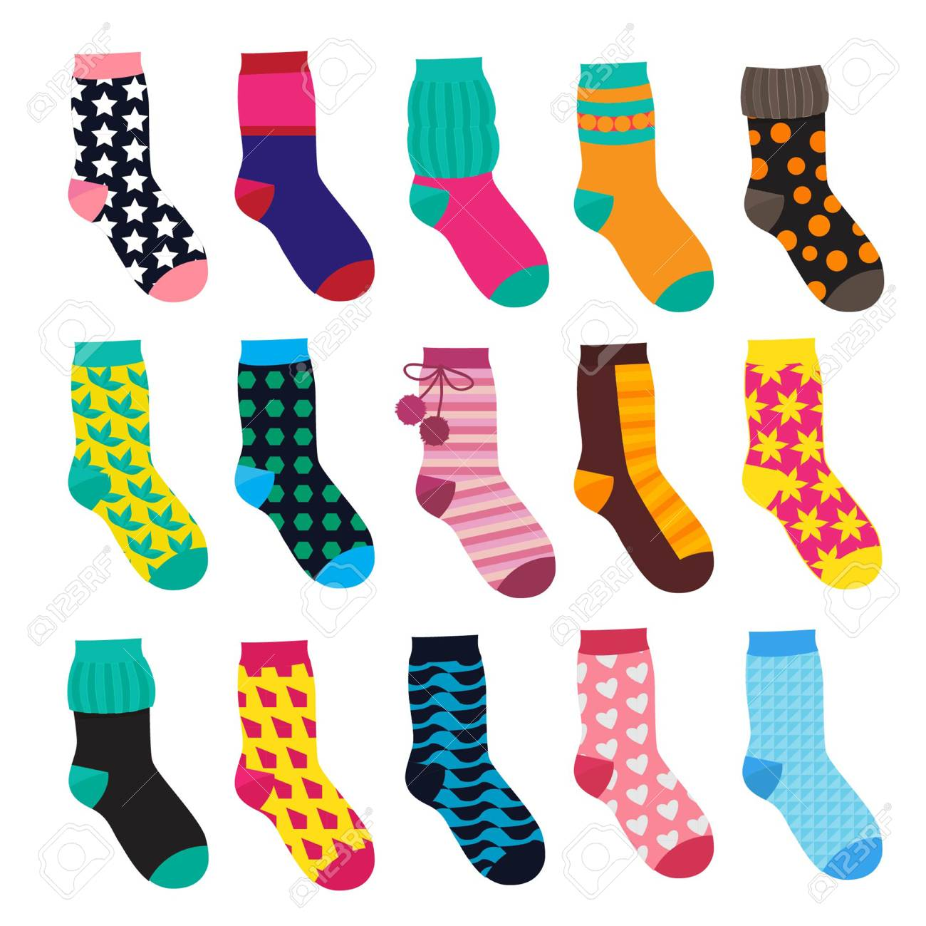 Socks in cartoon style. Elements of kids clothes. Vector illustrations isolate - 87048052