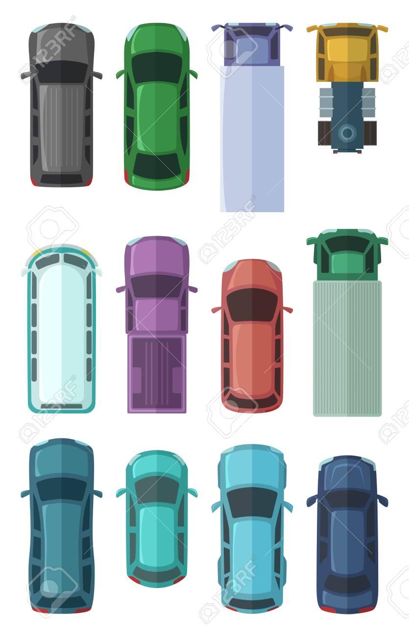 市では自動車の異なる屋根上から見た車フラット スタイルの