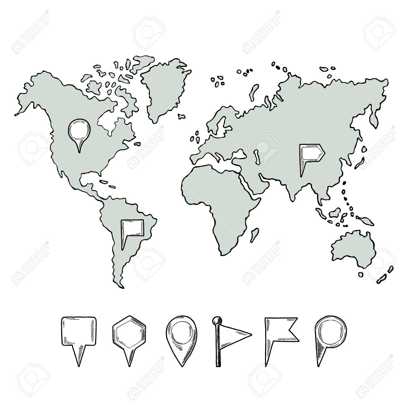 Hand Drawn Map Of The World.Doodle Illustrations Of World Map With Hand Drawn Pins Vector