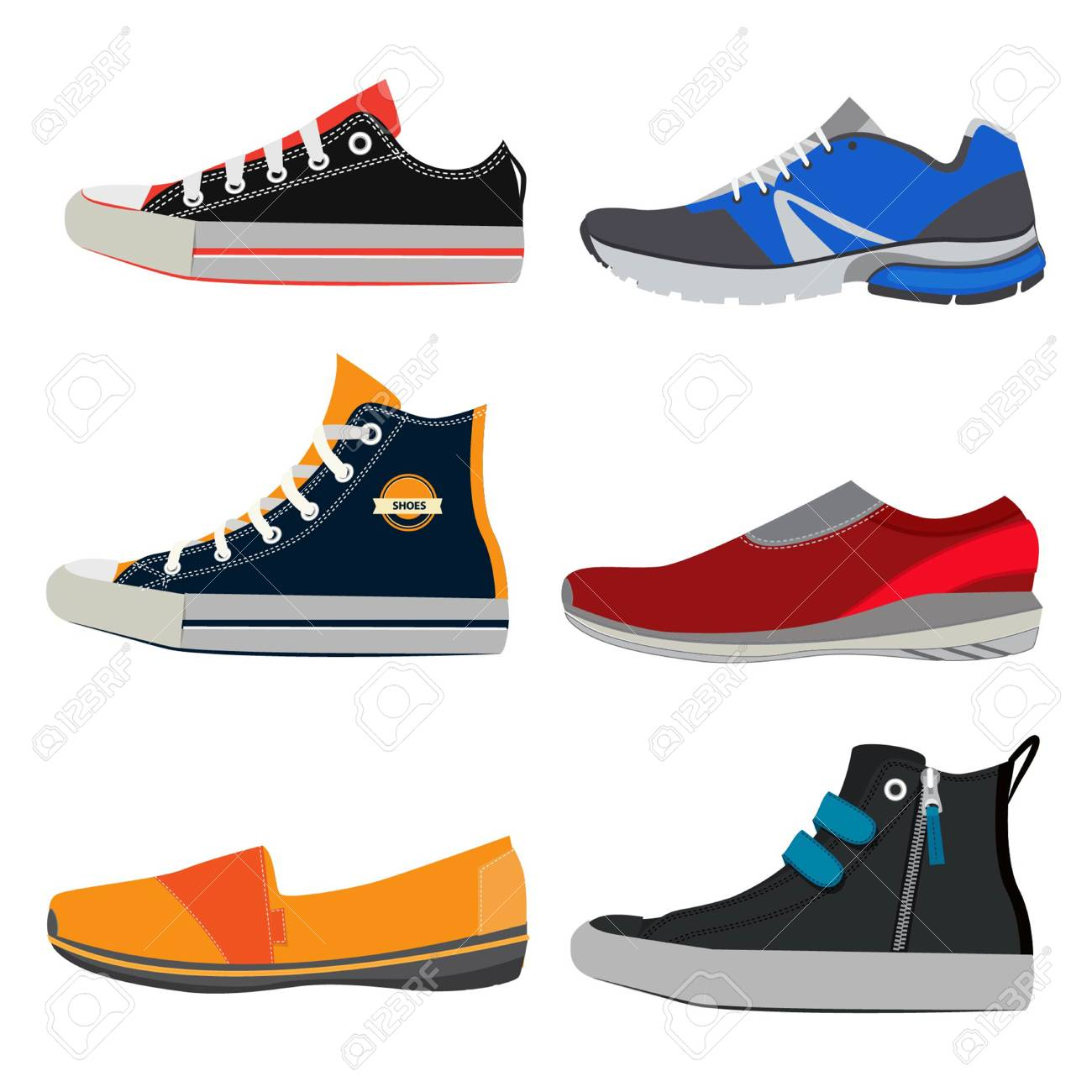 brand new 9789f 2b04e Teenage sports shoes. Colorful sneakers at different styles. Vector  illustrations set in cartoon style