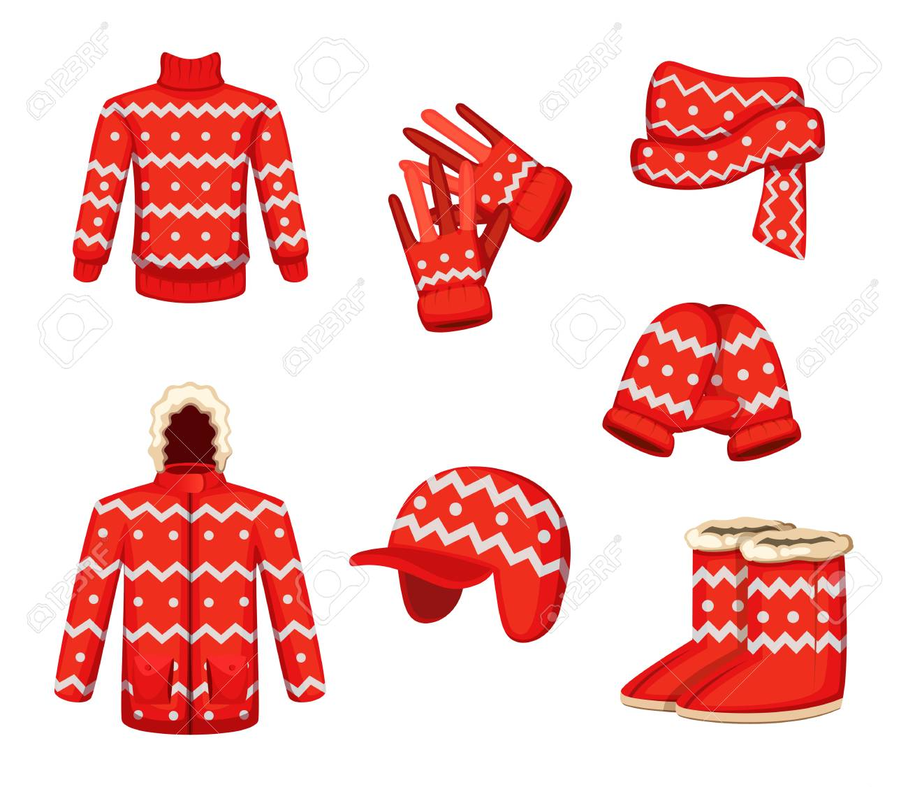 Clothes At Christmas Holiday Style Vector Illustrations For