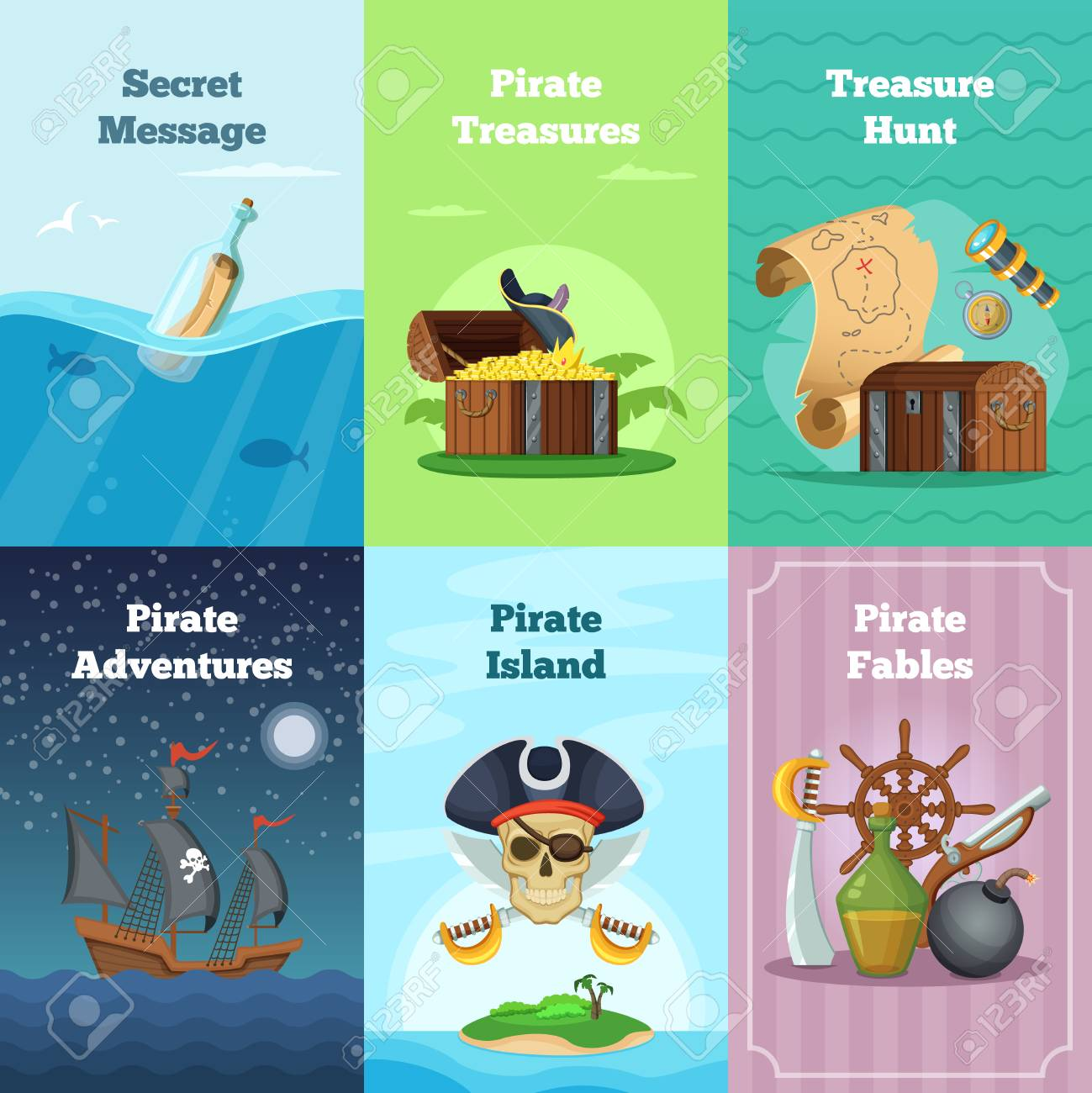 Different invitation cards of pirate theme vector illustrations different invitation cards of pirate theme vector illustrations with place for your text stock vector stopboris Image collections