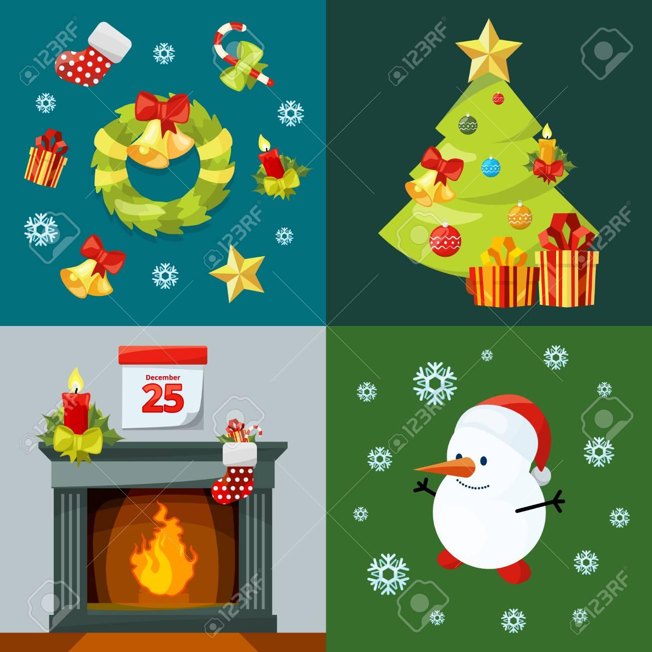Christmas Celebration Cartoon Images.Conceptual Pictures Of Christmas Celebration Vector Illustrations
