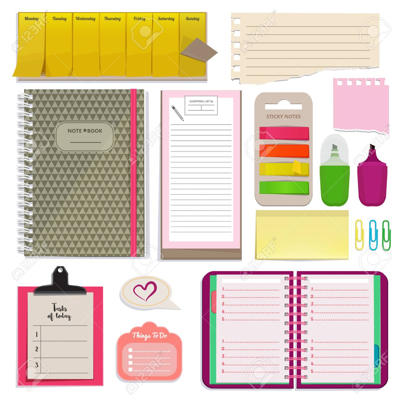 different notebooks notes daily agendas and papers for organizer