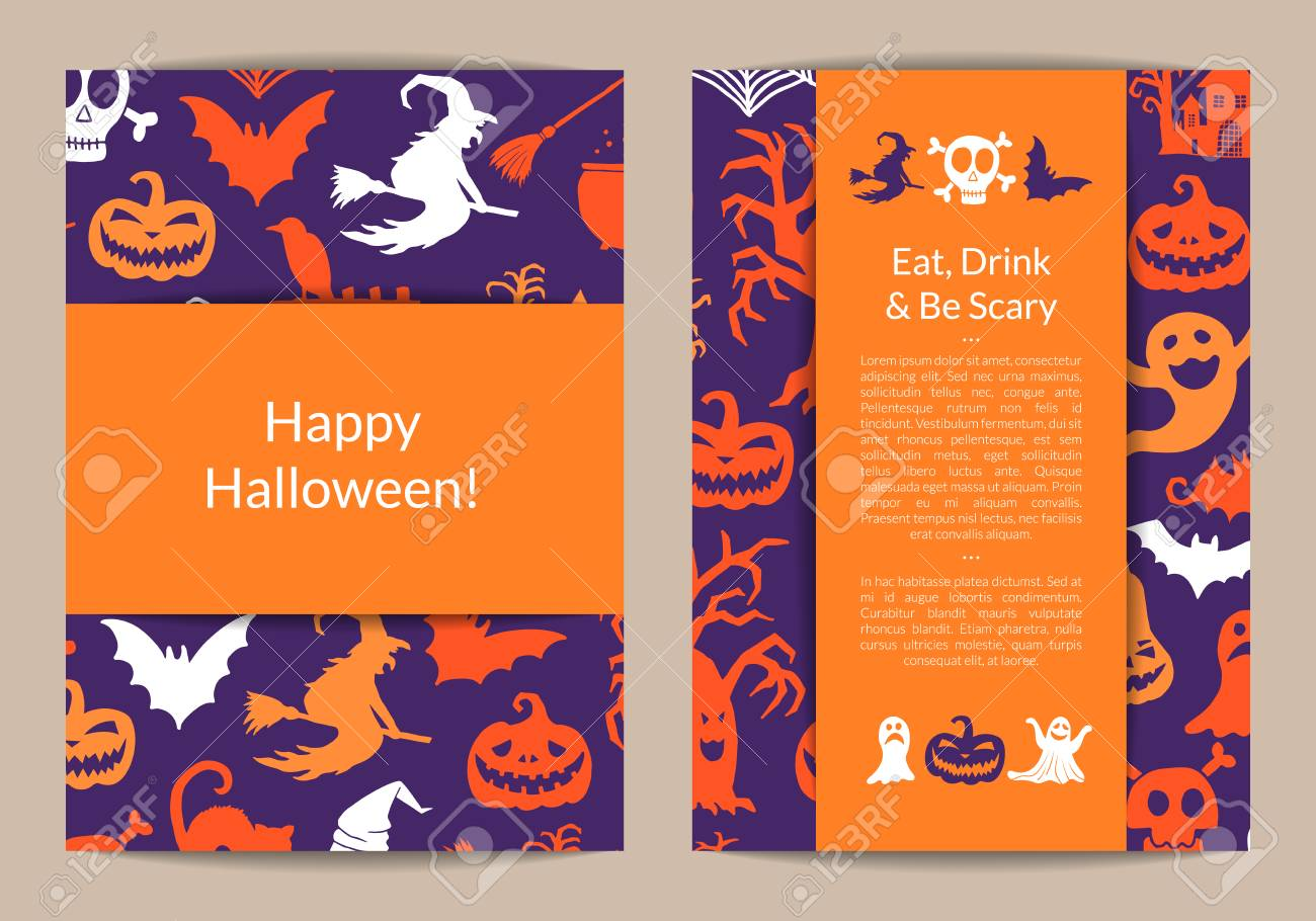 vector halloween card templates with witches pumpkins ghosts