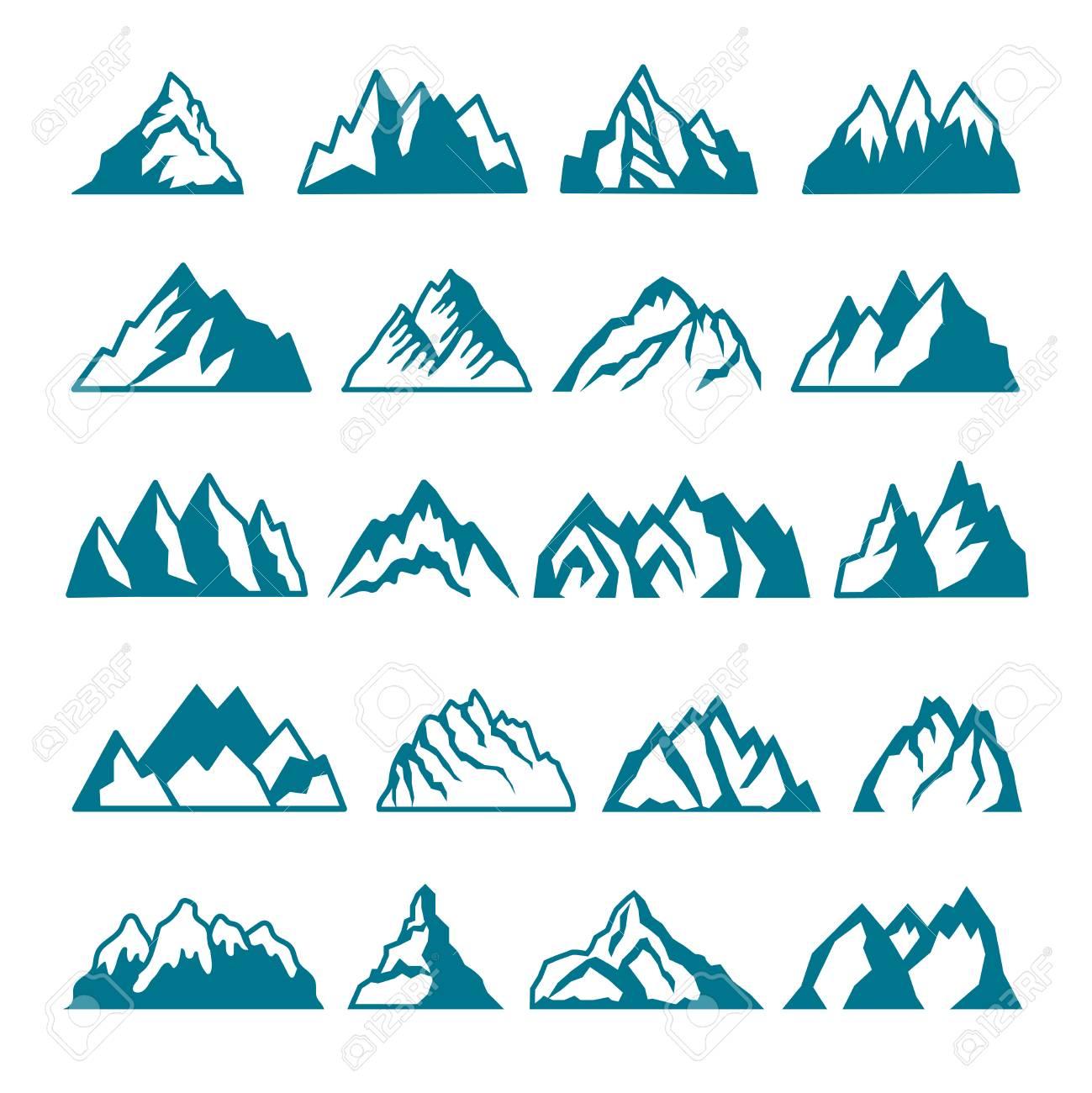モノクロの写真は別山を設定しますラベル デザインのベクトルのコレクション山岩のシルエットと火山ヒル石図