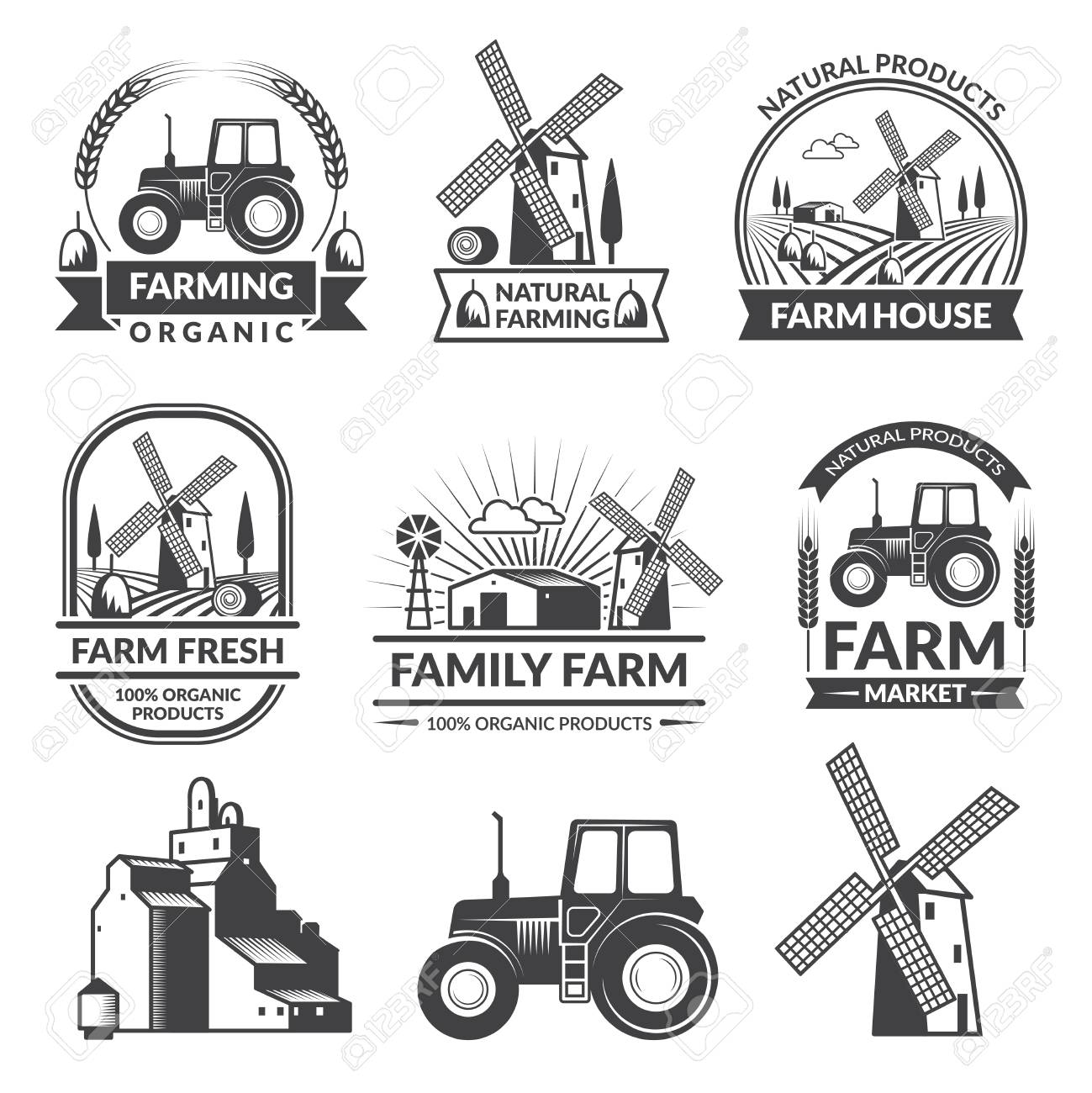 vector set of farm logos royalty free cliparts vectors and stock