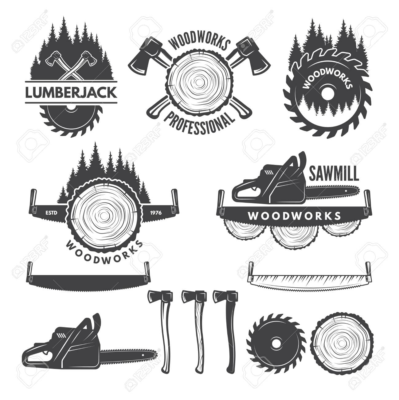 Monochrome labels set with lumberjack and pictures for wood industry. - 93385314