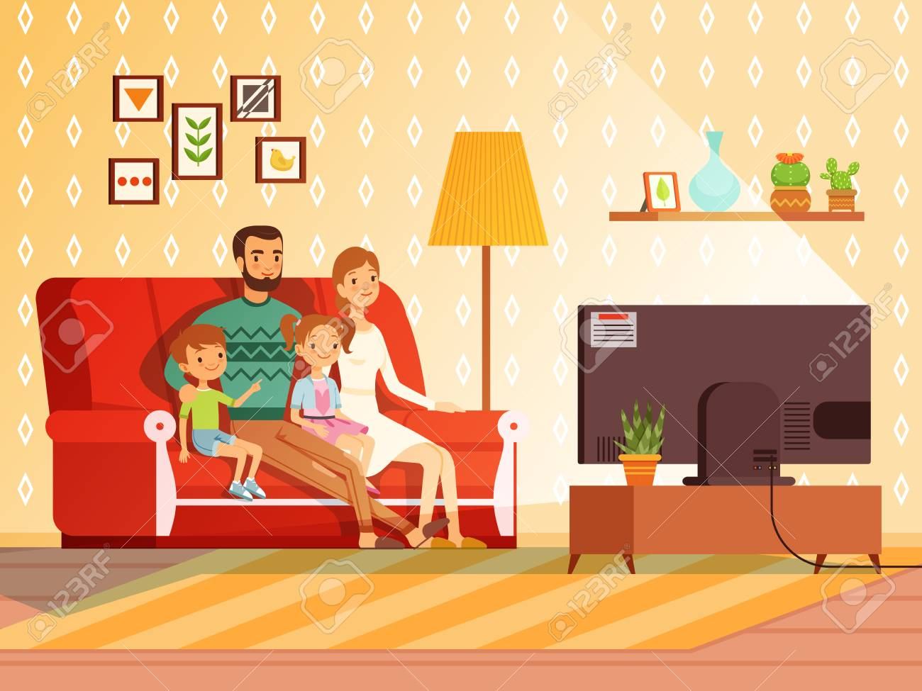 Lifestyle Of Modern Family Mother Father And Children Watching