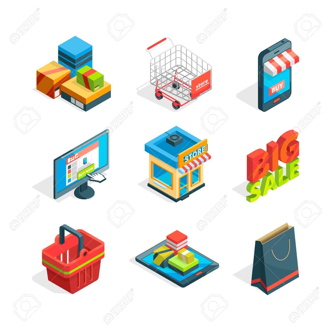 Isometric Icon Set Of Online Shopping Symbols Of Ecommerce