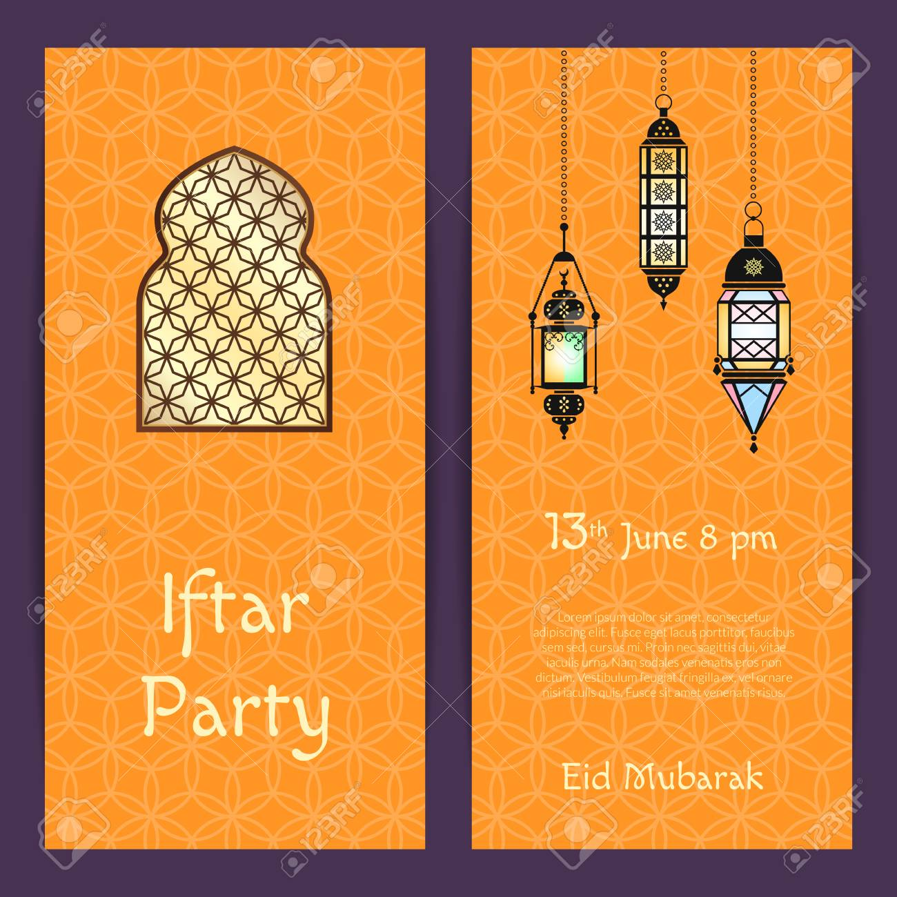 Vector Ramadan Iftar Party Invitation Card Template With Lanterns