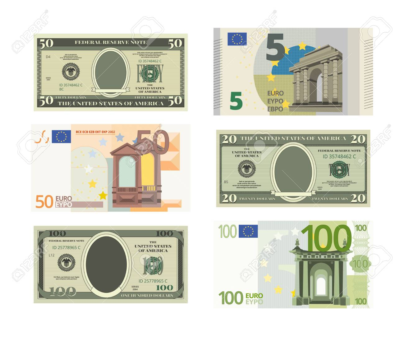 Illustrations of fake dollars and euro  Vector pictures of money