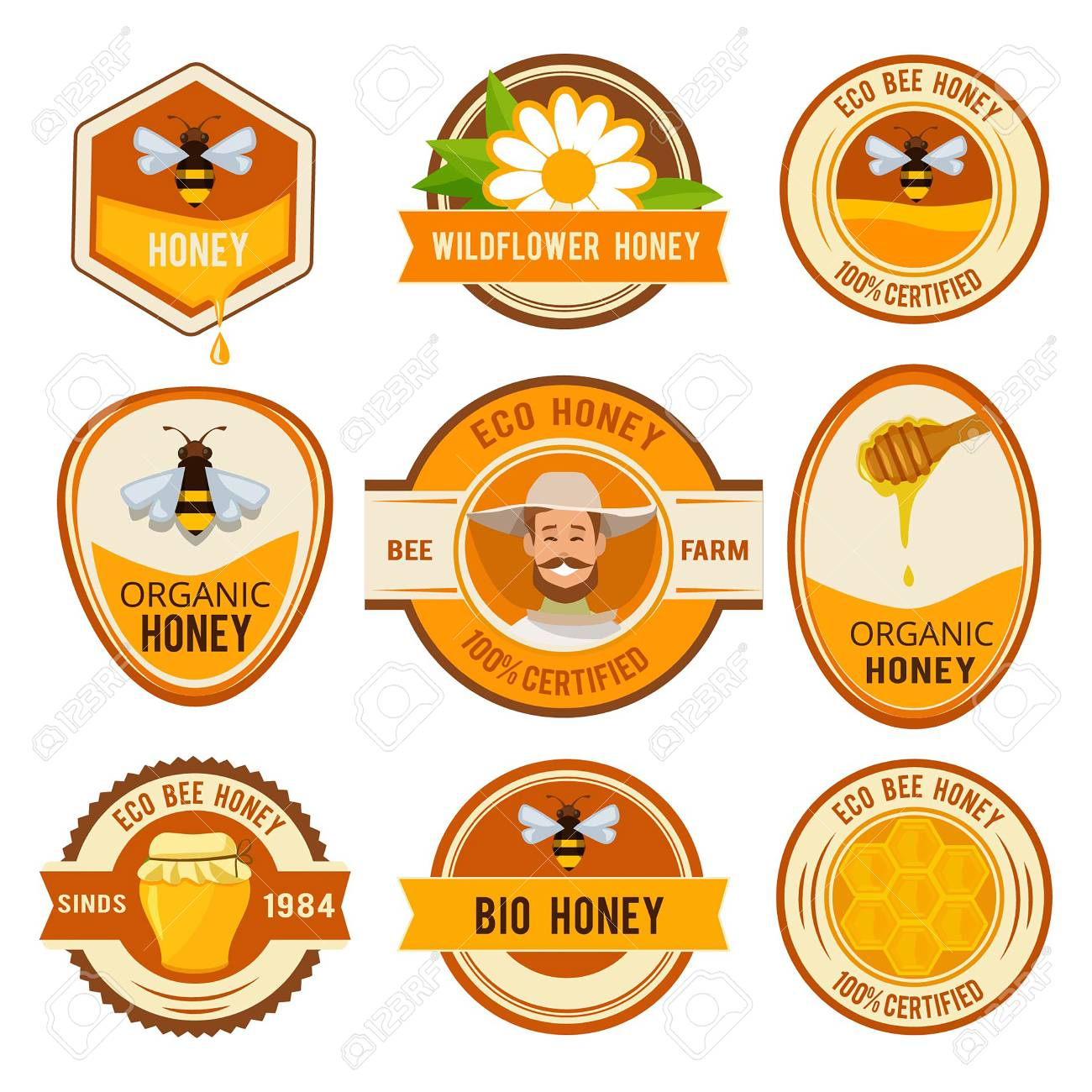 Set Labels For Honey Vector Template With Place For Your Text
