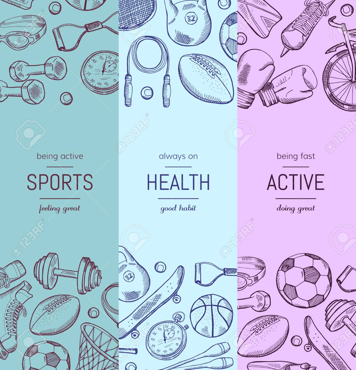 hand drawn sports equipment vertical banner templates royalty free