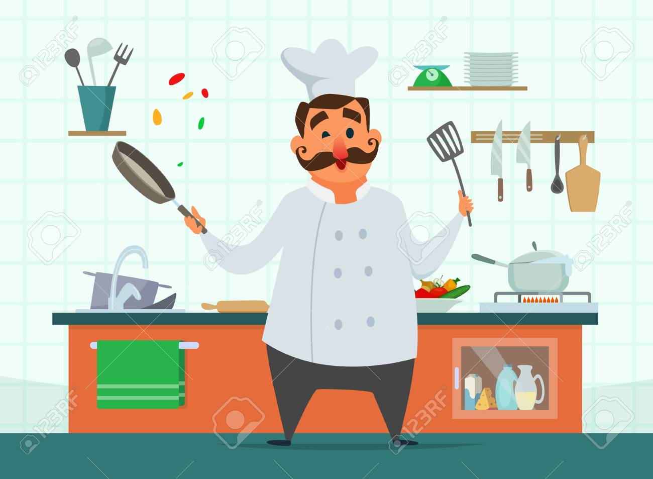 Chef Cooking On The Kitchen Vector Character In Cartoon Style