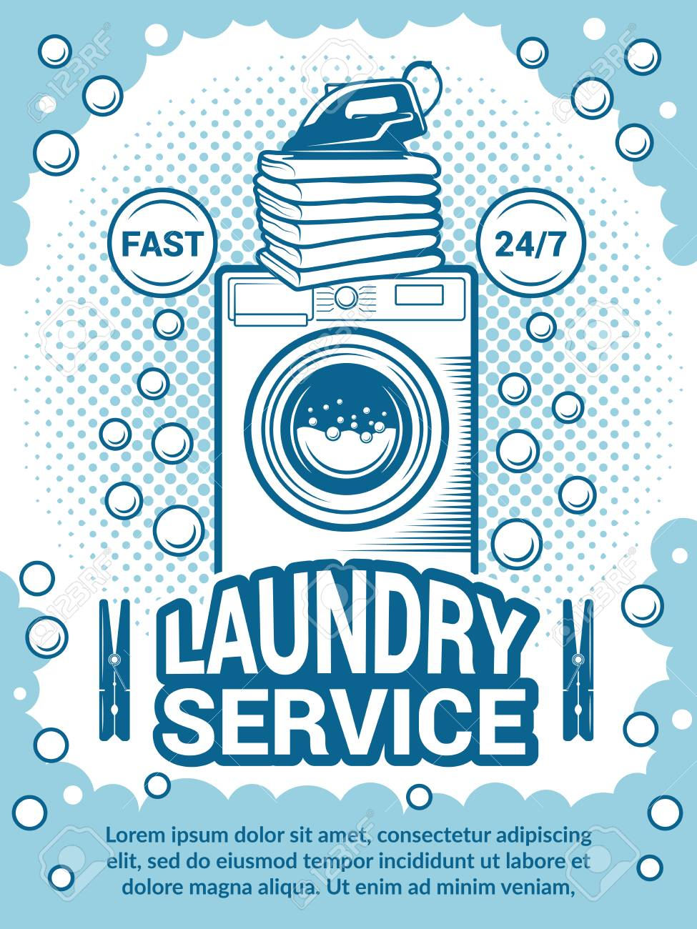 retro poster for dry cleaning advertisement design template with place for your text laundry