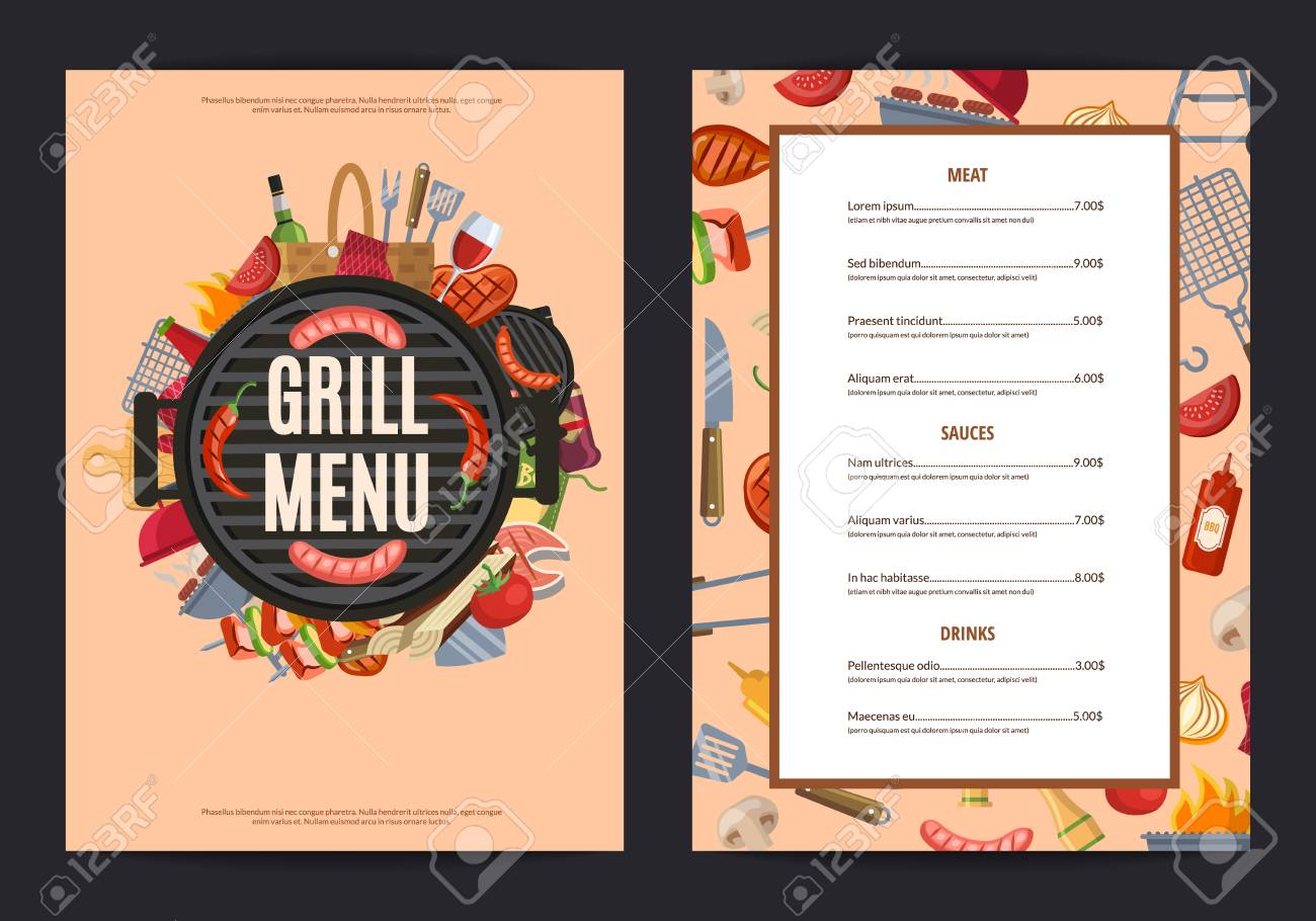 vector barbecue or grill vertical menu template barbecue grill