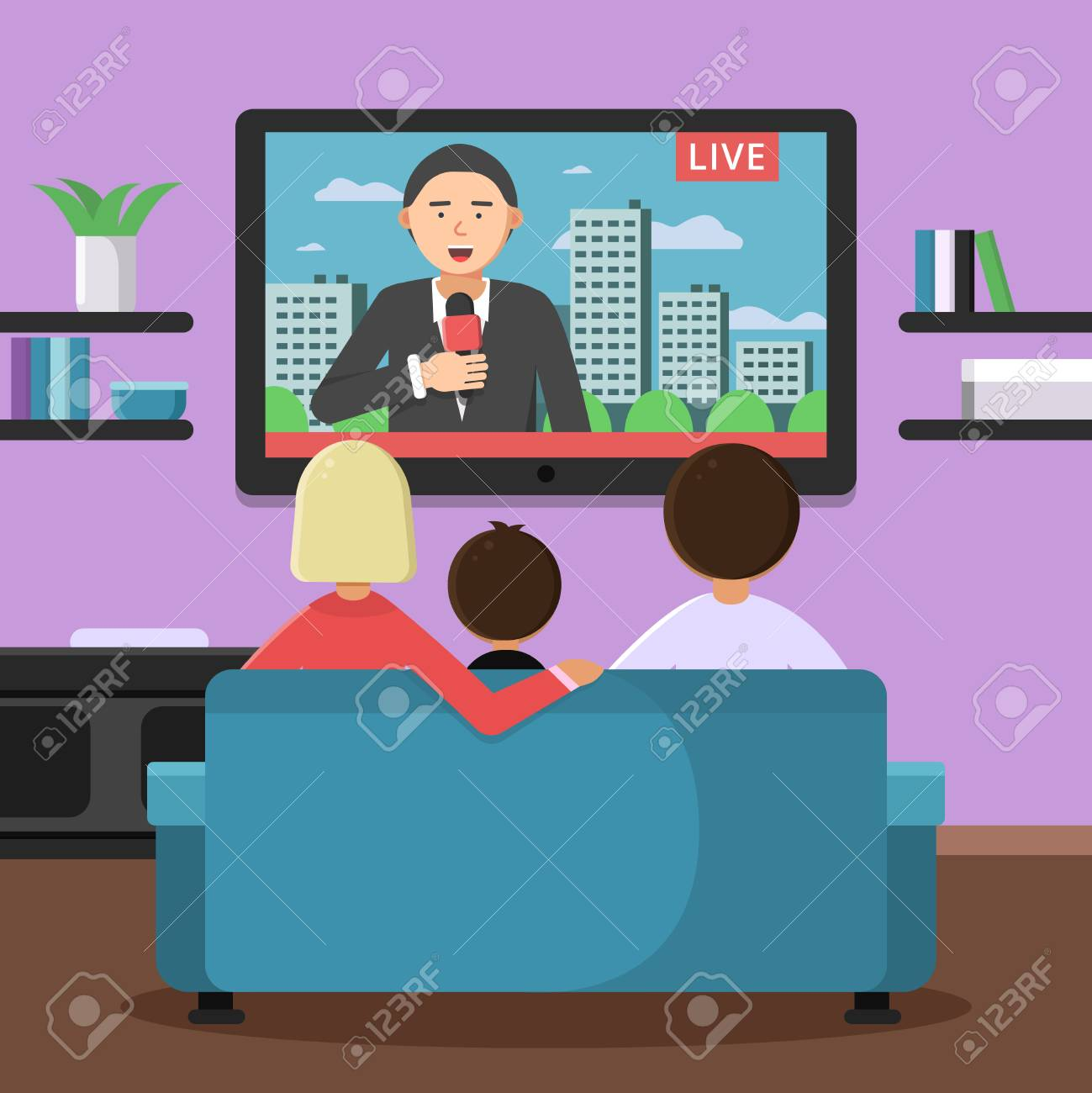 Family couple sitting on sofa and watching news at tv. Vector family sitting and watch news illustration - 95373333