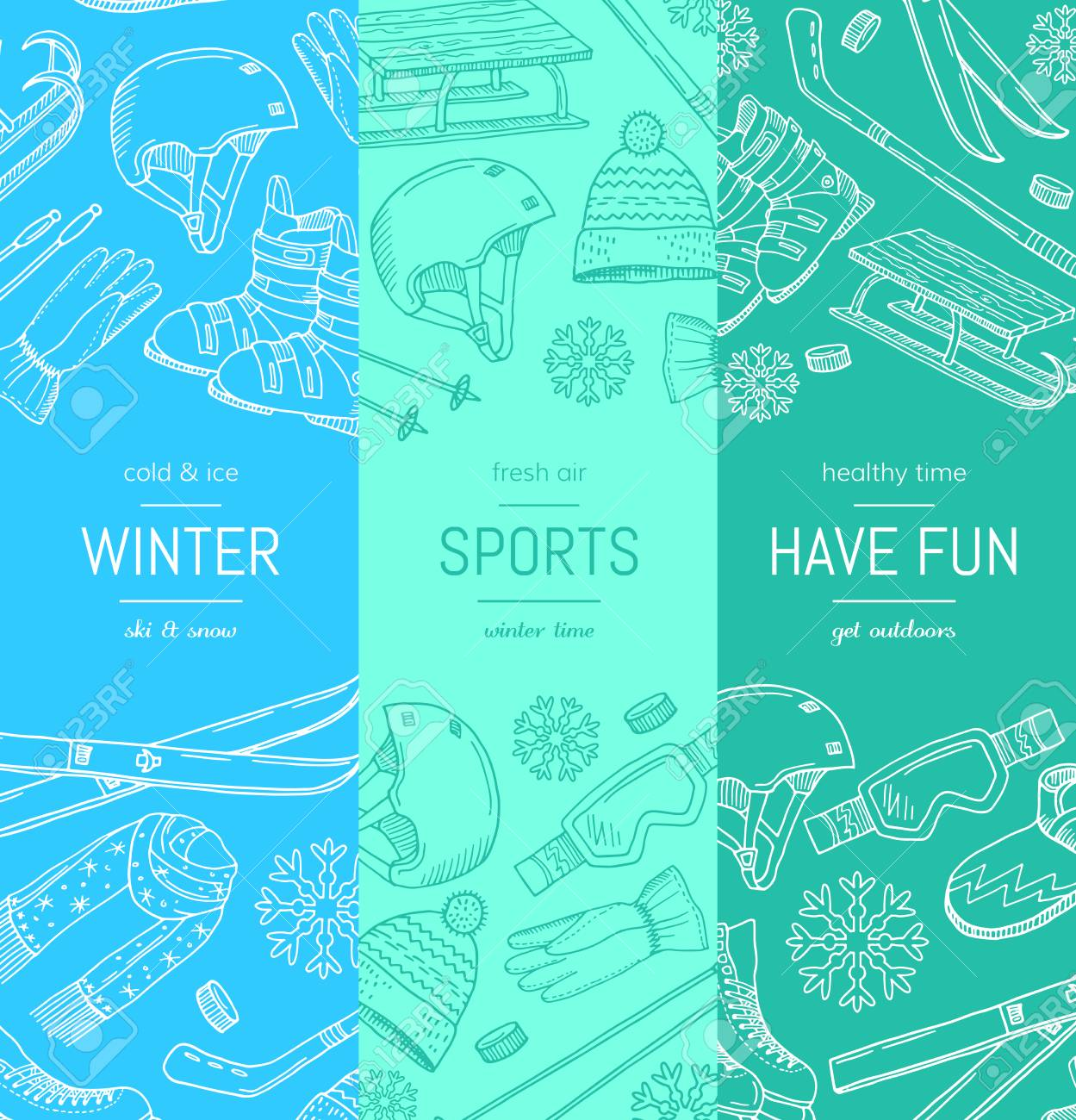 Vector Hand Drawn Winter Sports Equipment And Attributes Vertical - Sports banner templates