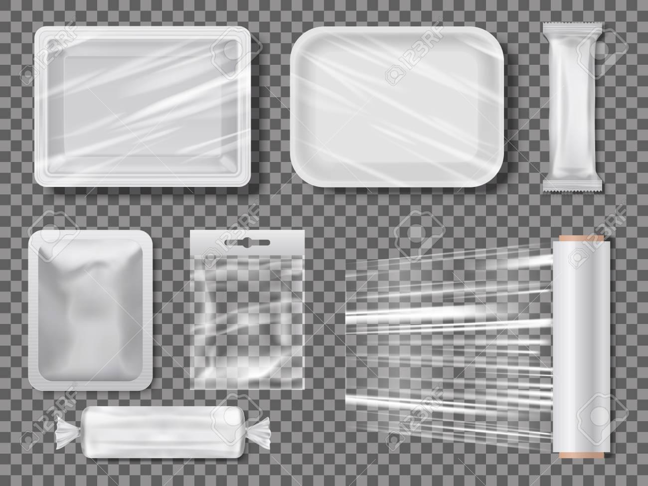 Transparent food packages from polythene illustration. - 96835294