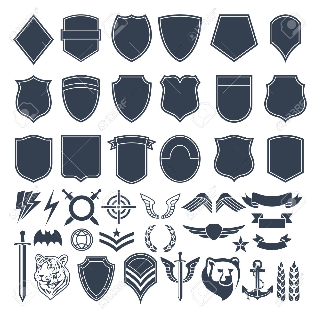 Set of empty shapes for military badges. Army monochrome symbols Vector illustration. - 97333491