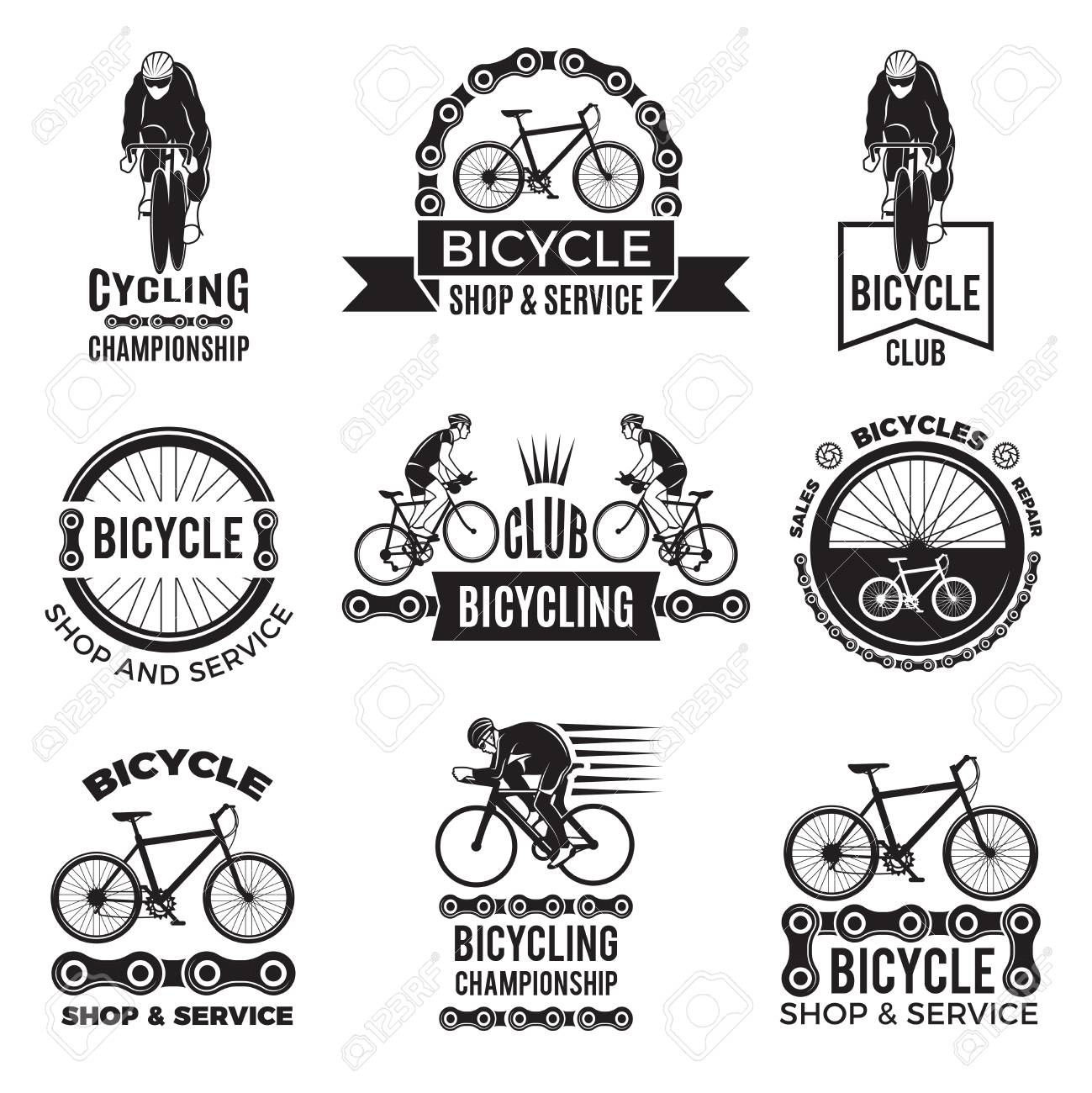 Labels set for bicycle club. Velo sport logos design - 97824053