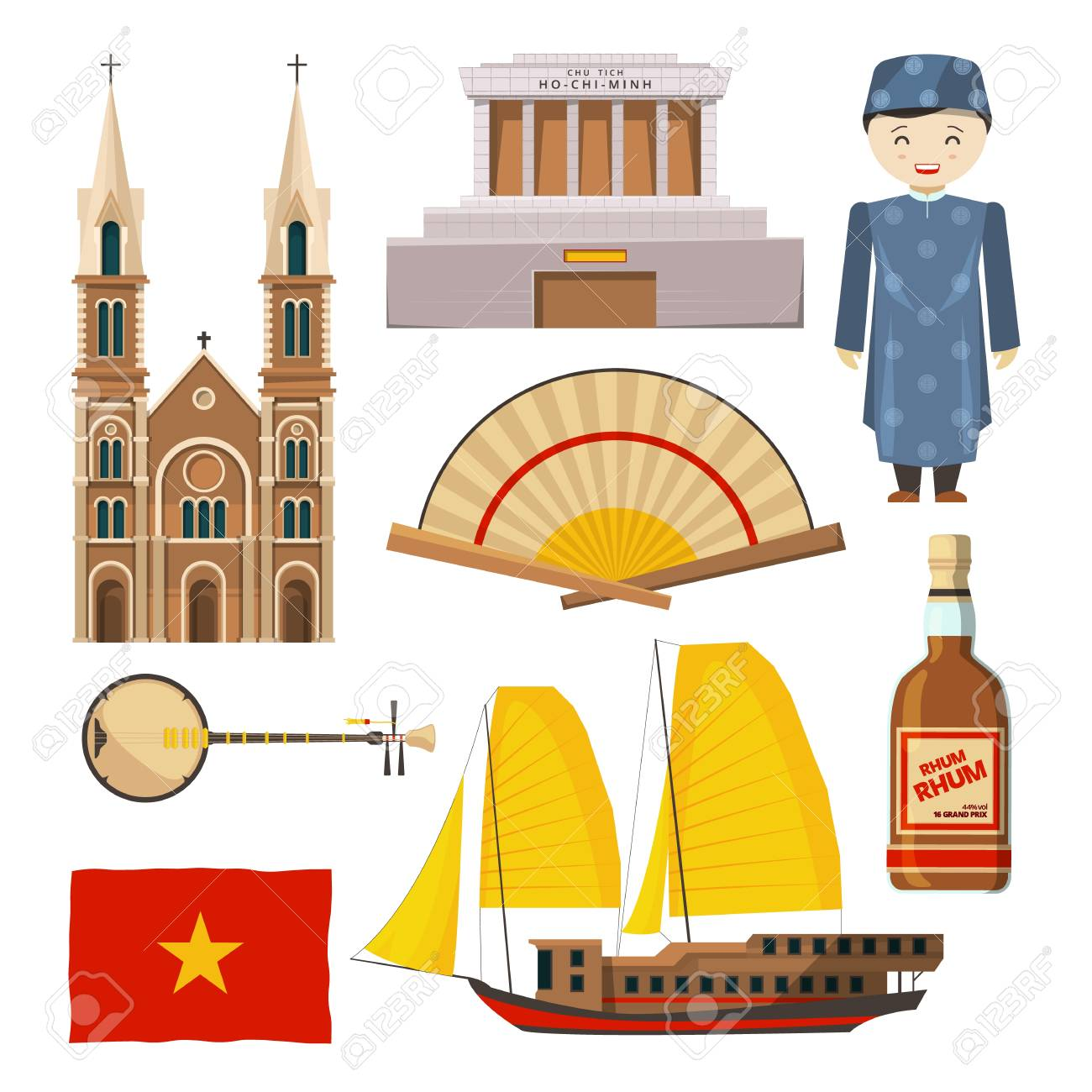 Different pictures of Vietnam symbols isolated on white background Vector illustration. - 98010318