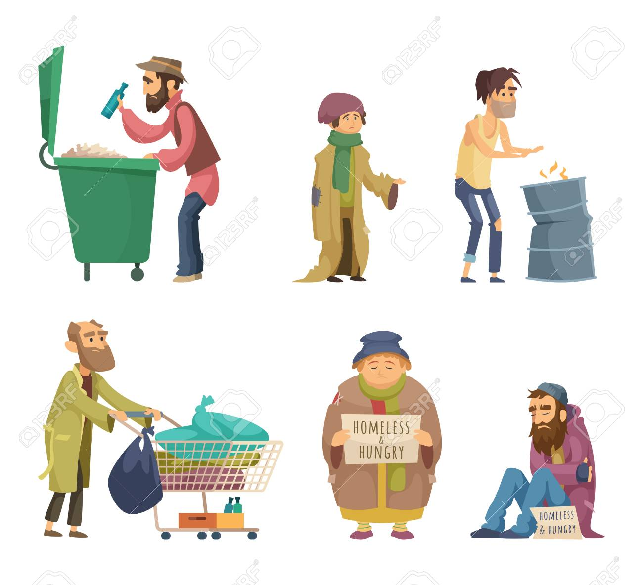 Poor and homeless adults people  Vector characters set
