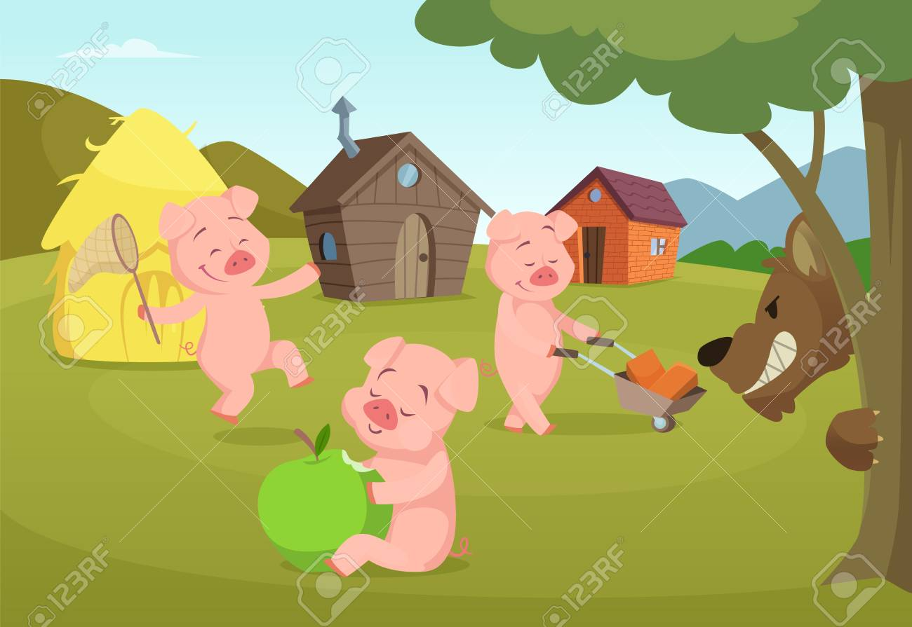 Three little pigs near their small houses and scary wolf - 99063759