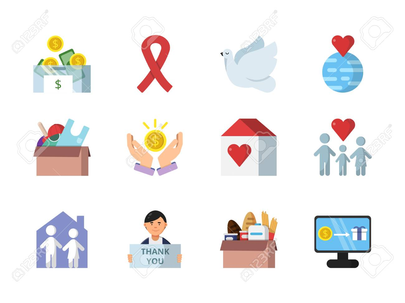 donation gifts and other different symbols of charities donation