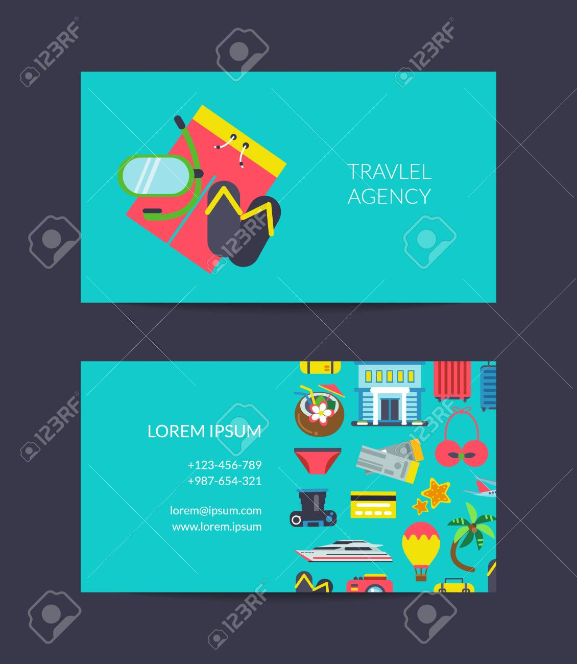 Vector flat travel elements business card template for travel