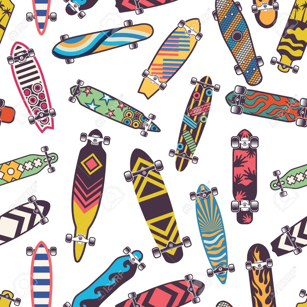 Colored seamless pattern with various skateboards. - 101059229