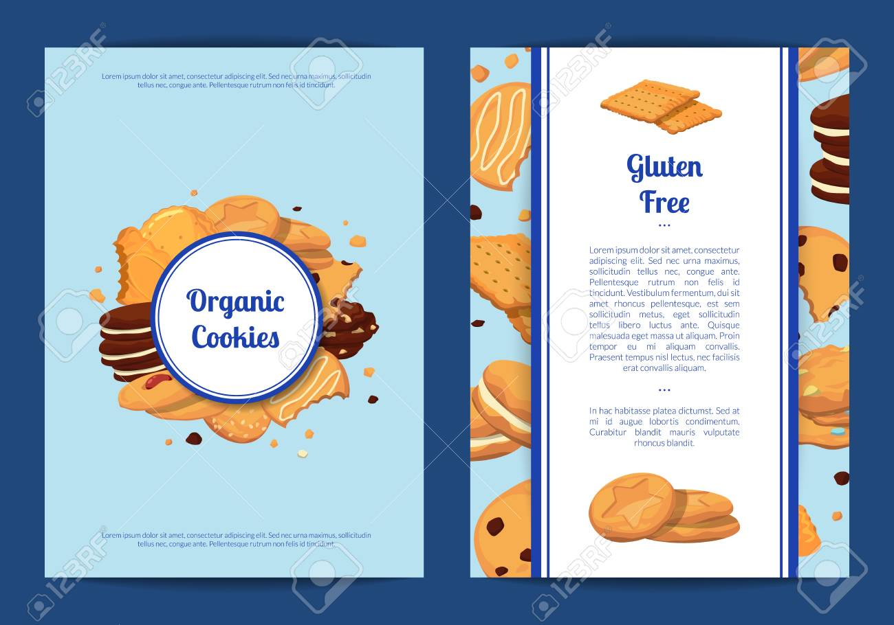 Vector Card Or Flyer Templates Set With Cartoon Cookies Royalty Free