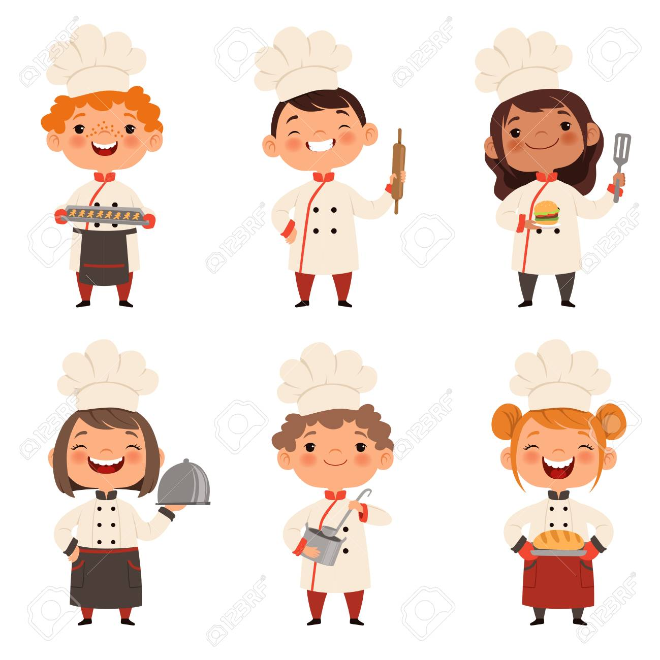 Characters set of children cooks. Cartoon mascots in various dynamic poses - 102193437