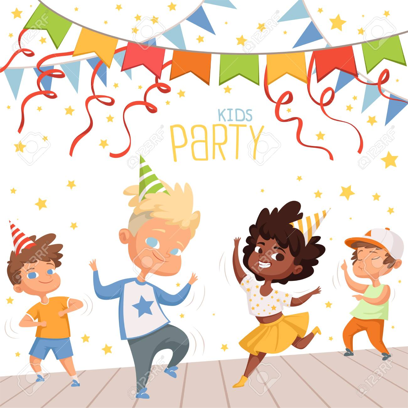 Background illustrations at childrens dance party. Template of poster for kids invitation - 103283411