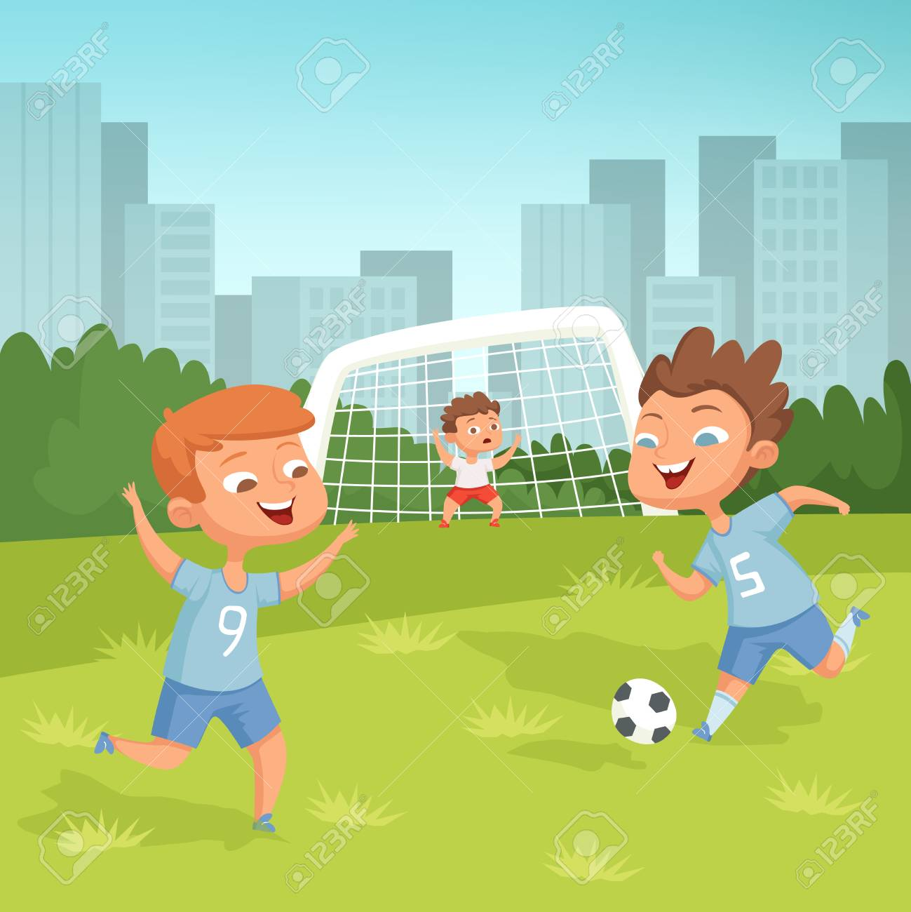 Active children playing football outdoor - 103995447
