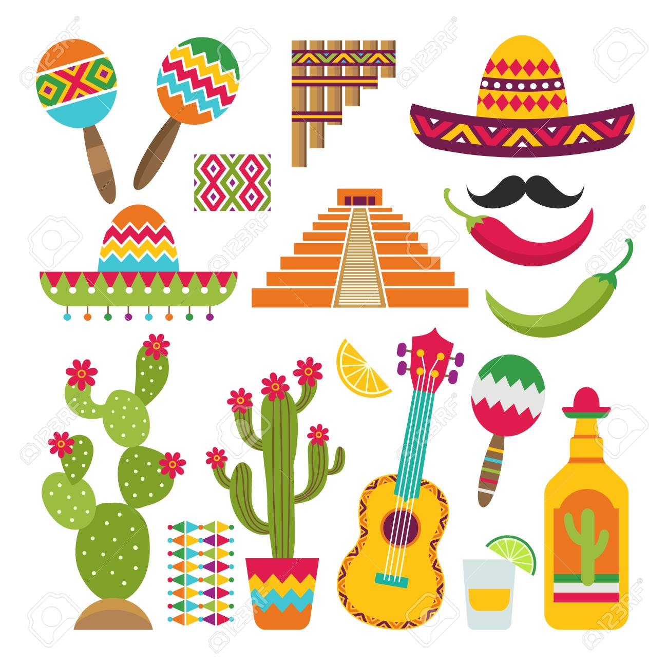 Mexican elements. Set of traditional Mexican symbols for various design projects - 103995494