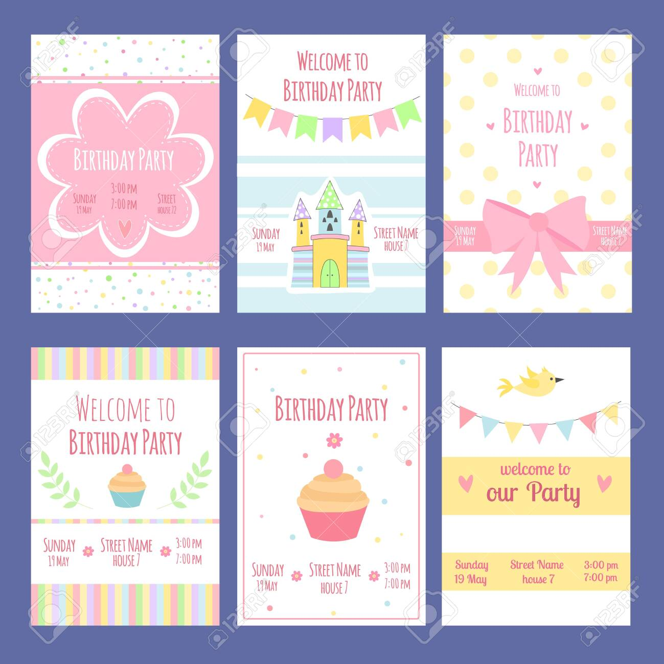 Admirable Birthday Invitation Cards Vector Template With Place For Your Funny Birthday Cards Online Fluifree Goldxyz
