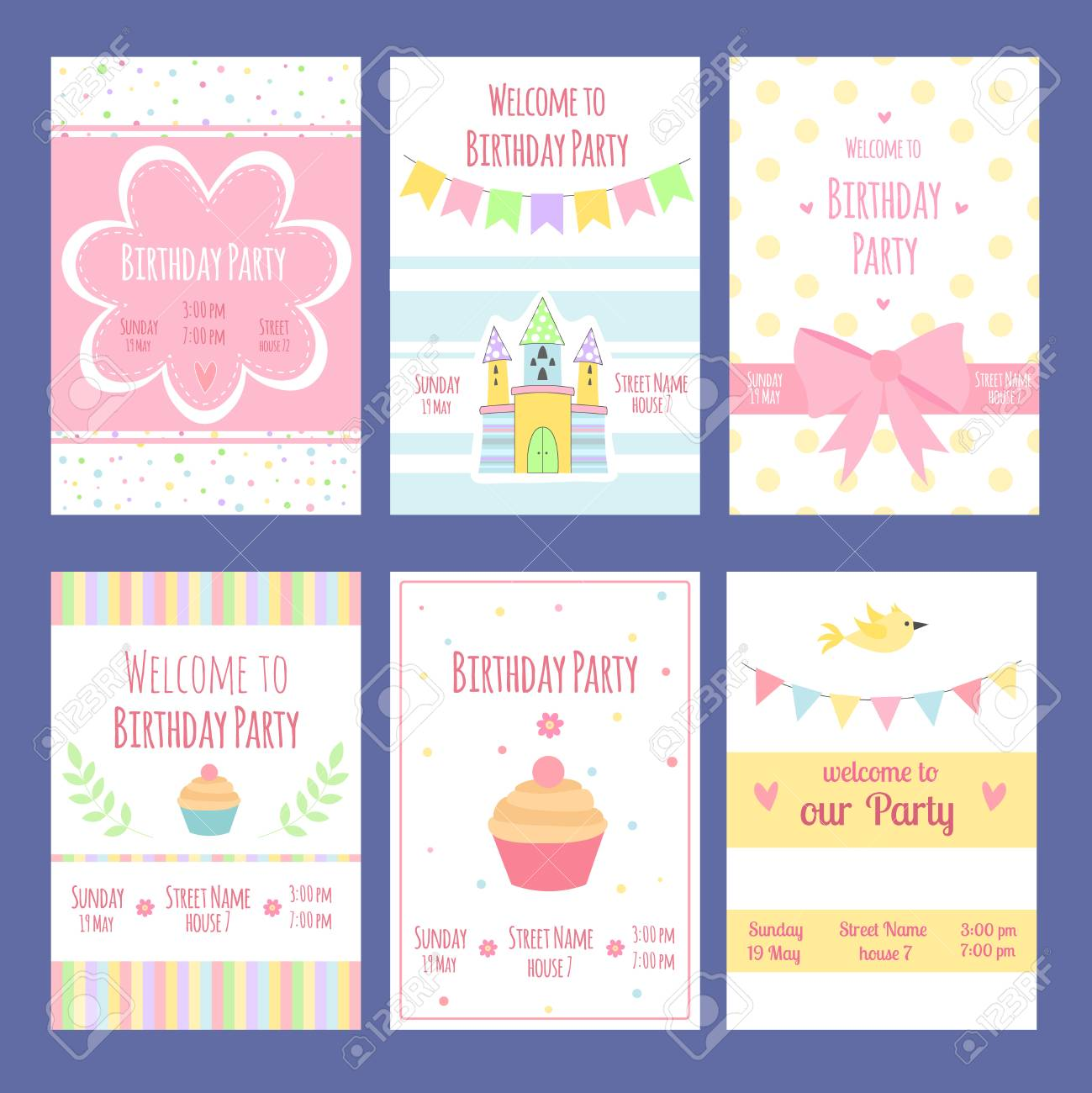 Birthday Invitation Cards Vector Template With Place For Your