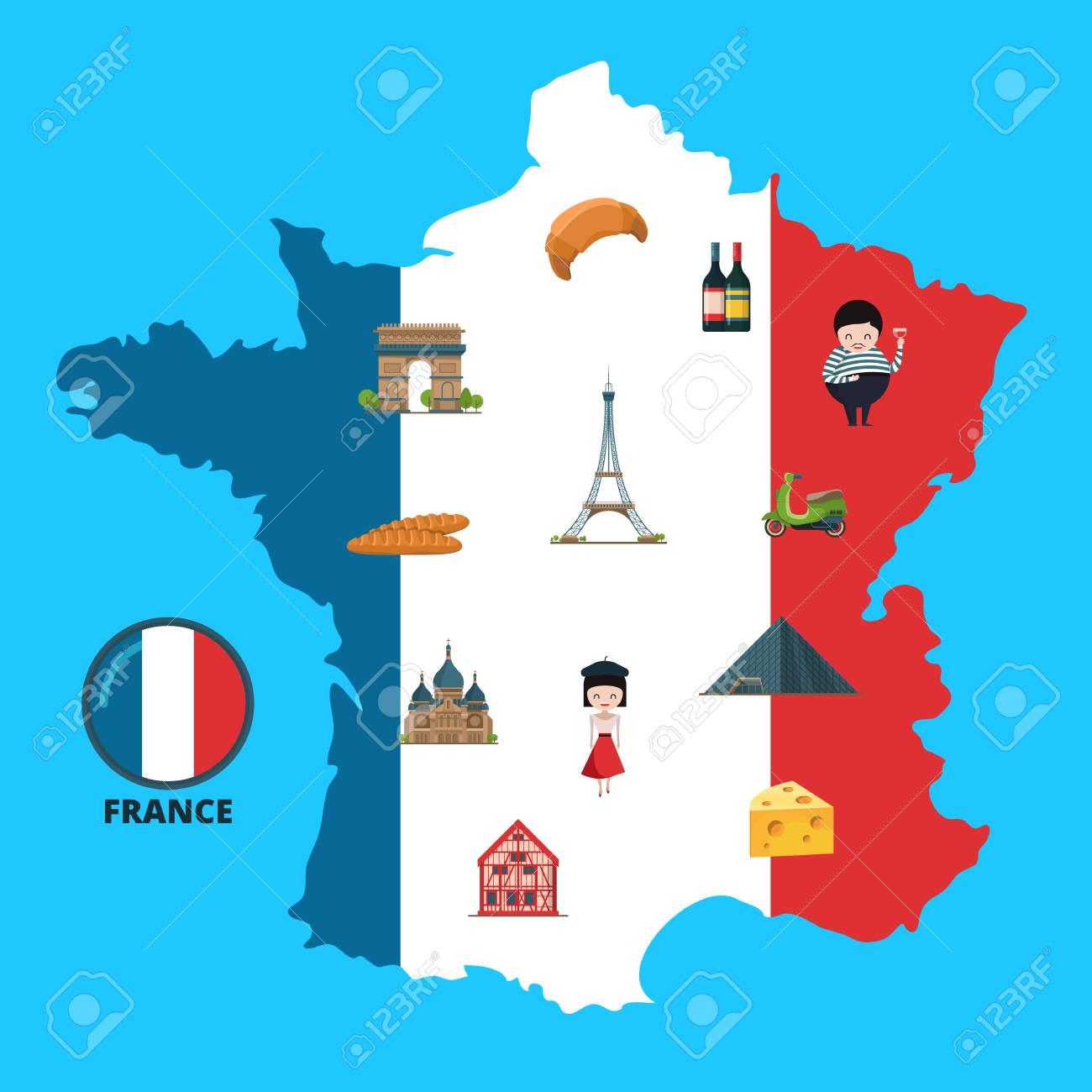 Map Of France Cartoon.Vector Cartoon France Sights On France Map Illustration Stock Photo