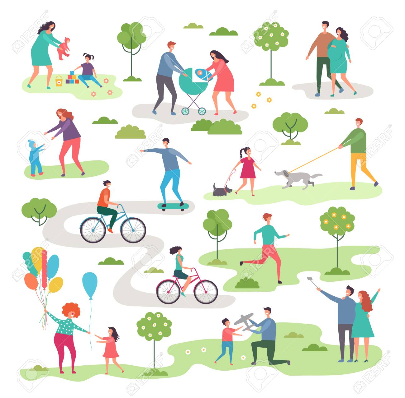 Outdoor activism in urban park. Bicycle riders and walking peoples. Landscape nature, activity bicycle sport illustration vector - 114805379