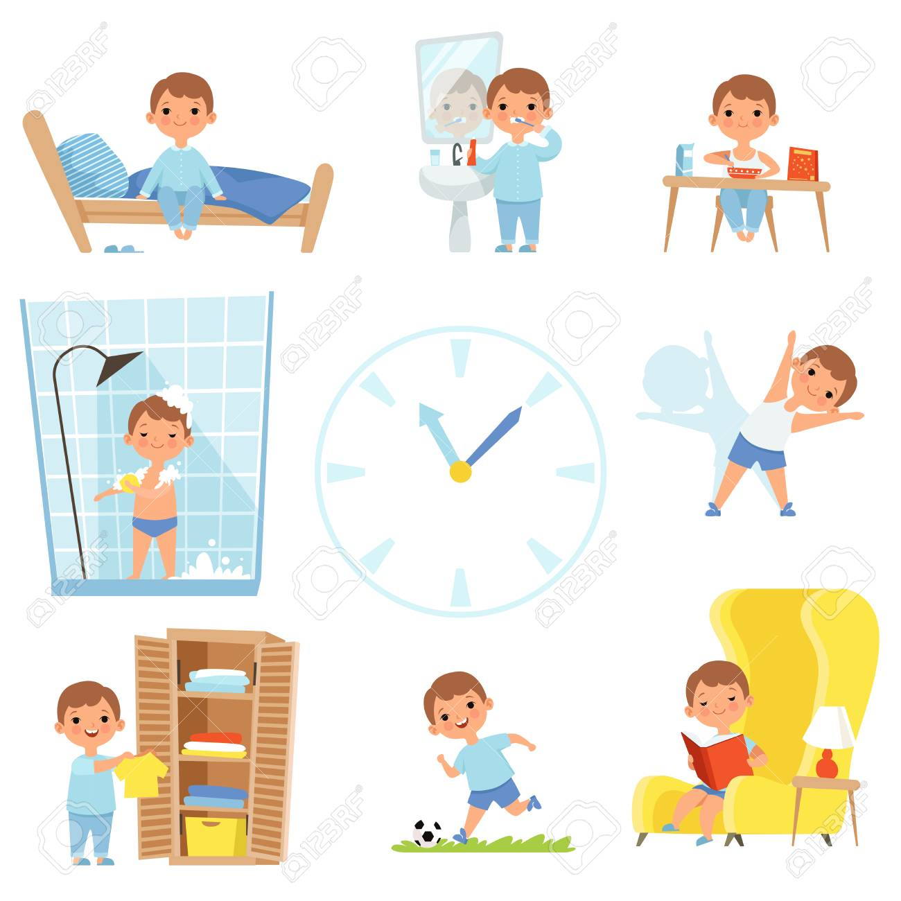 Daily routine. Kids making various cases in all day. Vector child daily sleep, eat and activity illustration - 105139037